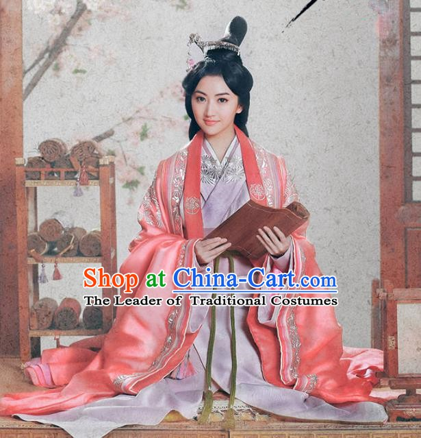 Traditional Chinese Ancient Han Dynasty Imperial Princess Delicate Embroidered Hanfu Costume for Women