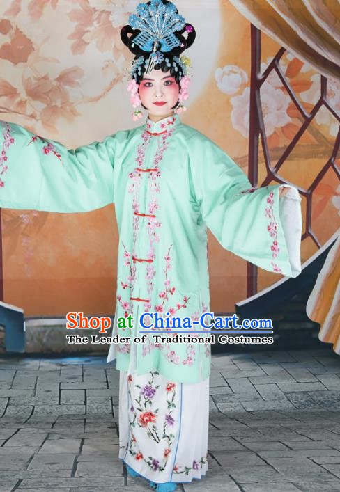 Chinese Beijing Opera Actress Princess Embroidered Green Costume, China Peking Opera Diva Embroidery Clothing
