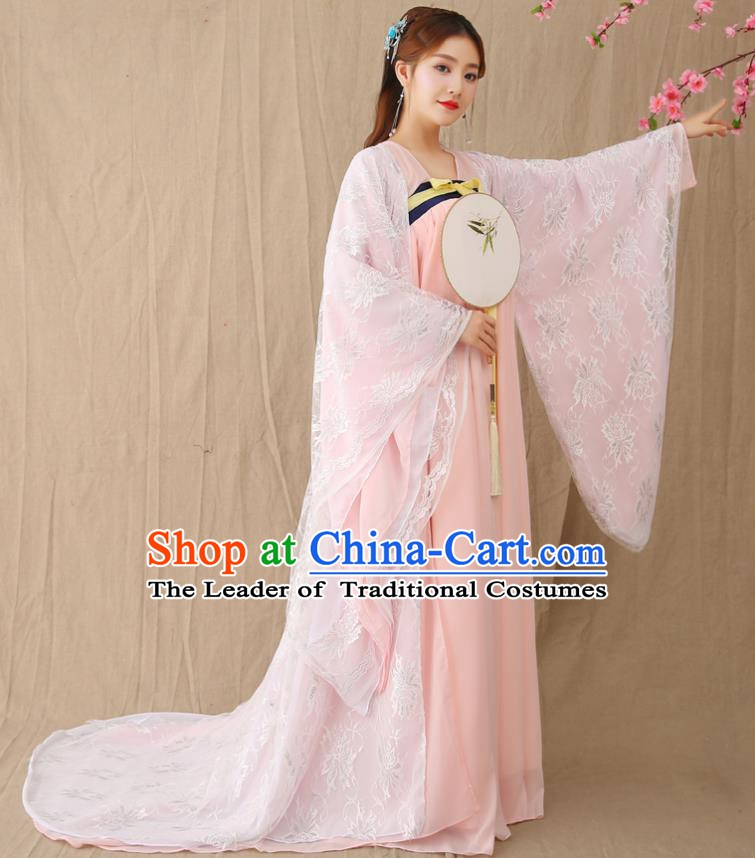Traditional Chinese Tang Dynasty Imperial Concubine Costume, China Ancient Palace Fairy Hanfu Lace Dress Clothing for Women