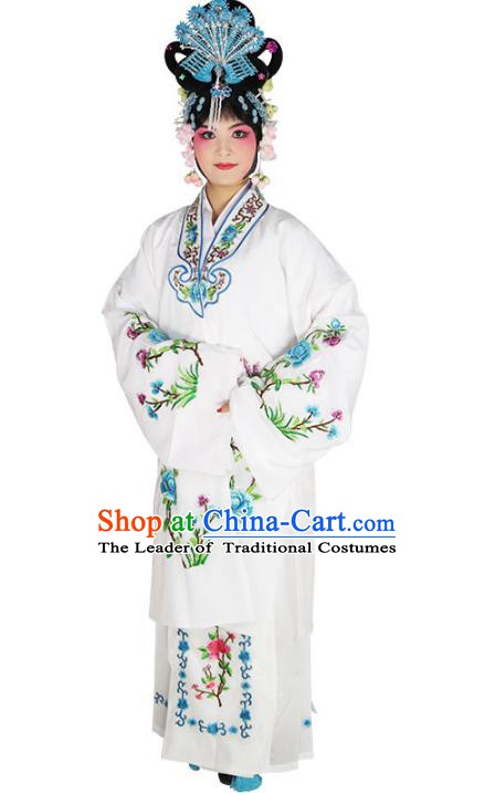 Chinese Beijing Opera Actress Princess Embroidered White Costume, China Peking Opera Diva Embroidery Clothing
