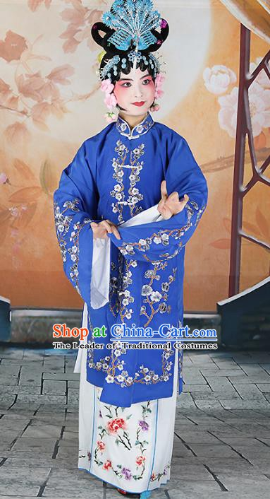 Chinese Beijing Opera Actress Princess Embroidered Deep Blue Costume, China Peking Opera Diva Embroidery Wintersweet Clothing