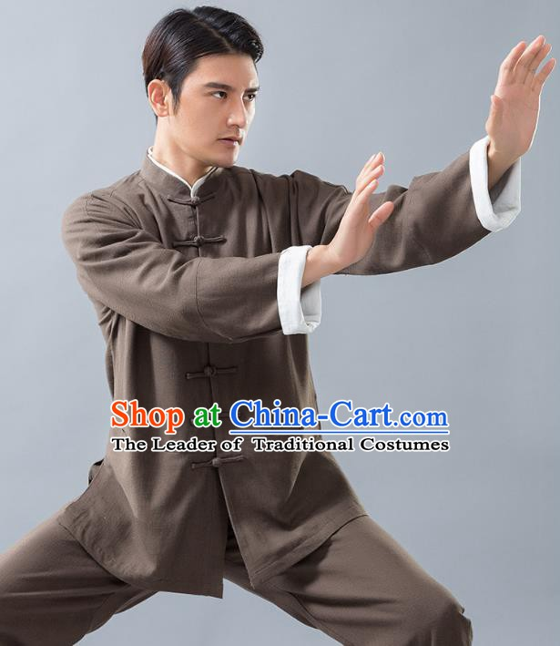 Top Grade Chinese Kung Fu Costume, China Martial Arts Tai Ji Training Brown Linen Uniform Gongfu Clothing for Men