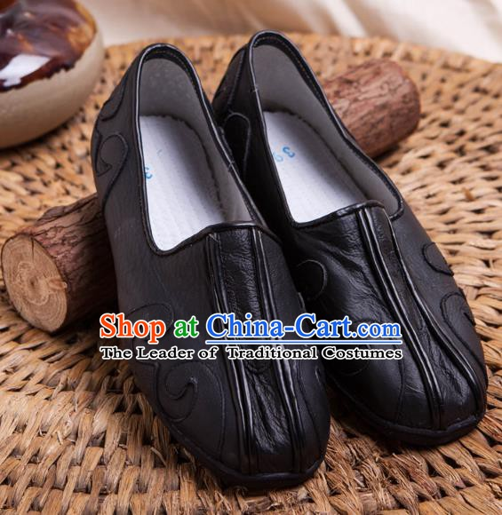 Traditional Chinese Shoes Kung Fu Wushu Shoes Embroidered Shoes Black Monk Shoes