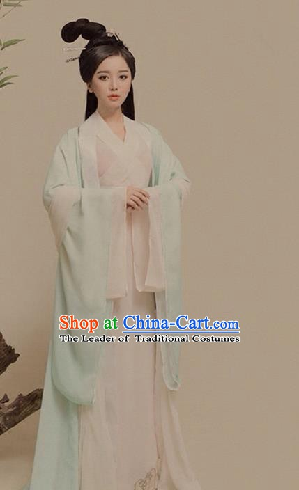 Asian Chinese Ancient Fairy Costume Traditional Han Dynasty Palace Princess Clothing and Headpiece Complete Set