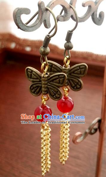 Traditional Handmade Chinese Ancient Princess Accessories Classical Butterfly Tassel Earrings for Women
