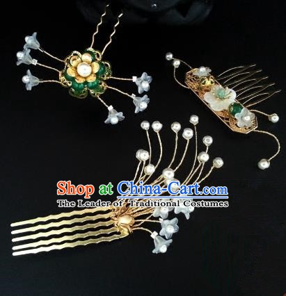 Traditional Handmade Chinese Ancient Classical Hair Accessories Hairpins Golden Hair Comb for Women