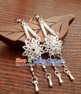 Traditional Handmade Chinese Ancient Princess Hanfu Lotus Eardrop Accessories Classical Tassel Earrings for Women