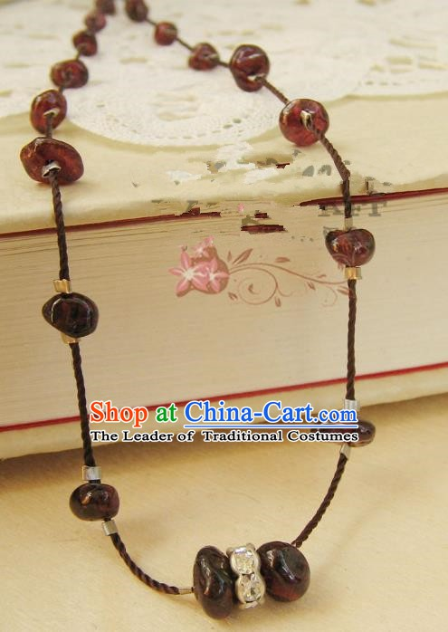 Traditional Handmade Chinese Ancient Classical Accessories Garnet Necklace for Women