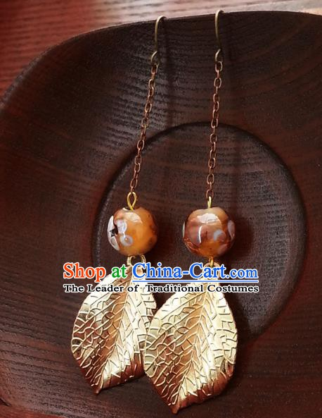 Traditional Handmade Chinese Ancient Princess Hanfu Golden Leaf Eardrop Classical Earrings for Women