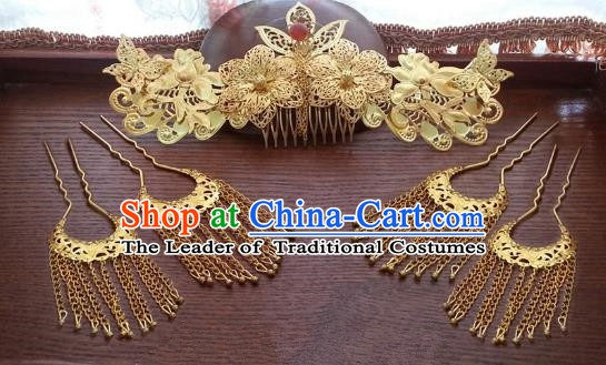 Traditional Handmade Chinese Ancient Classical Wedding Hair Accessories Hairpins Phoenix Coronet for Women
