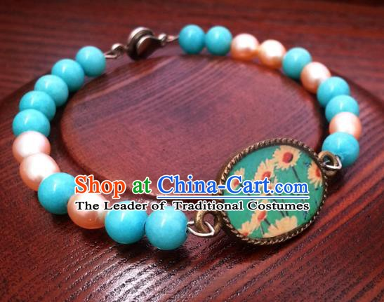 Traditional Handmade Chinese Ancient Classical Accessories Blue Beads Bracelets for Women