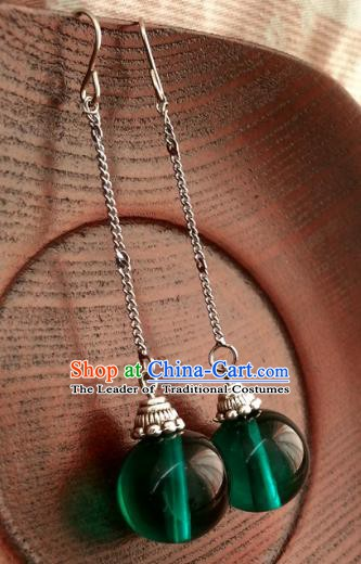 Traditional Handmade Chinese Ancient Princess Hanfu Green Bead Eardrop Classical Earrings for Women