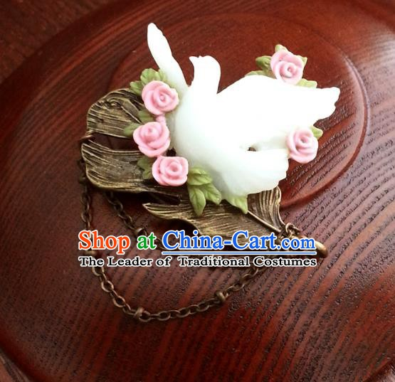 Traditional Handmade Chinese Ancient Classical Accessories Brooch Pigeons Breastpin for Women