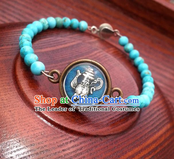 Traditional Handmade Chinese Ancient Classical Accessories Turquoise Bracelets for Women