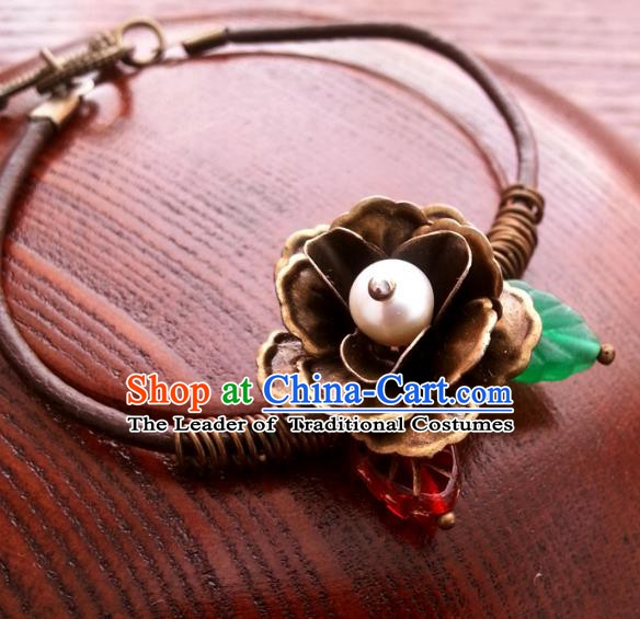Traditional Handmade Chinese Ancient Classical Accessories Bronze Flower Bracelets for Women