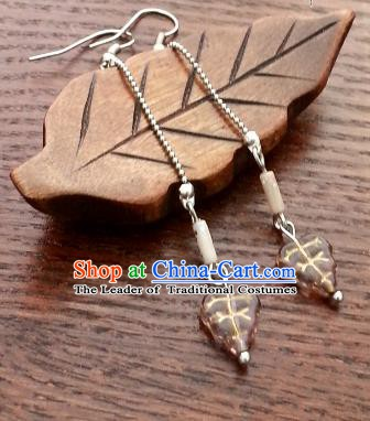 Traditional Handmade Chinese Ancient Princess Hanfu Leaf Eardrop Classical Earrings for Women