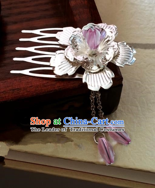 Traditional Handmade Chinese Ancient Classical Hair Accessories Pink Tassel Hairpins Headwear for Women