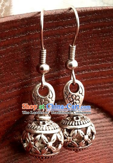 Traditional Chinese Handmade Sliver Eardrop Ancient Palace Lady Princess Hanfu Classical Earrings for Women