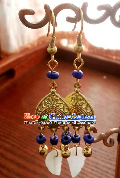Traditional Chinese Handmade Eardrop Ancient Palace Queen Hanfu Classical Earrings for Women