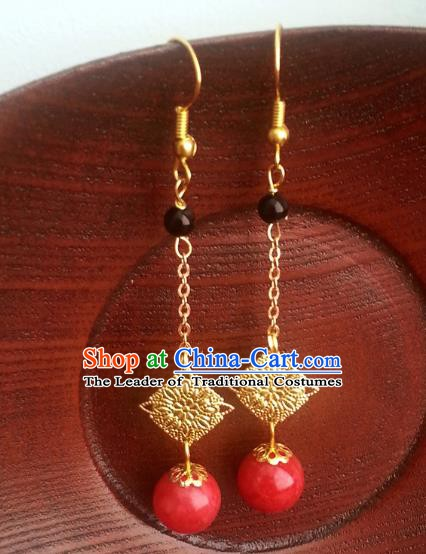 Traditional Chinese Handmade Classical Golden Tassel Eardrop Ancient Palace Queen Hanfu Earrings for Women