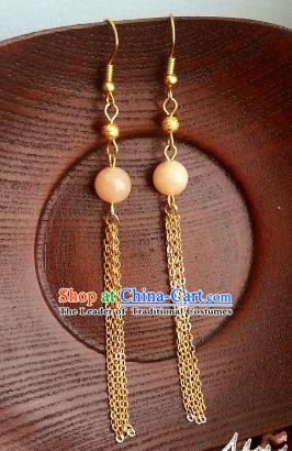 Traditional Chinese Handmade Classical Long Tassel Eardrop Ancient Palace Queen Hanfu Earrings for Women