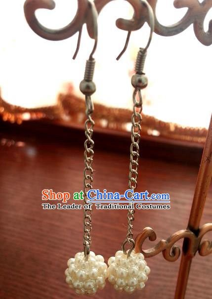 Traditional Chinese Handmade Classical Pearls Eardrop Ancient Palace Queen Hanfu Earrings for Women
