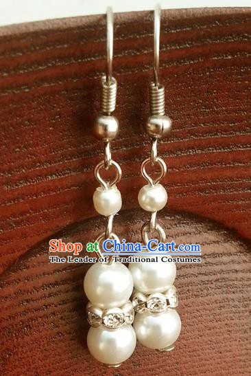 Traditional Chinese Handmade Classical Hanfu Pearl Crystal Eardrop Ancient Palace Princess Earrings for Women