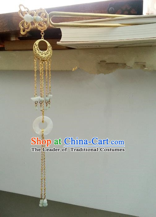 Handmade Traditional Chinese Classical Hair Accessories Ancient Hanfu Golden Tassel Hairpins for Women