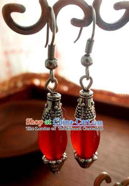 Traditional Chinese Handmade Classical Red Agate Eardrop Ancient Palace Queen Hanfu Earrings for Women