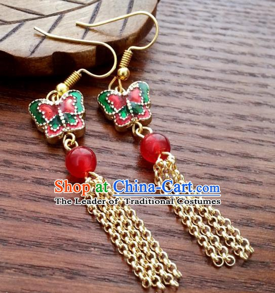 Traditional Chinese Handmade Classical Hanfu Blueing Butterfly Eardrop Ancient Palace Princess Earrings for Women