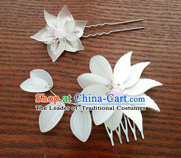 Traditional Handmade Chinese Classical Jade Hair Accessories Ancient Hairpins Hair Comb for Women