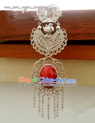 Traditional Handmade Chinese Classical Accessories Brooch Ancient Princess Jade Pendant for Women