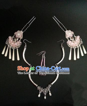 Handmade Traditional Chinese Classical Hair Accessories Ancient Bride Hanfu Hairpins Frontlet and Earrings for Women