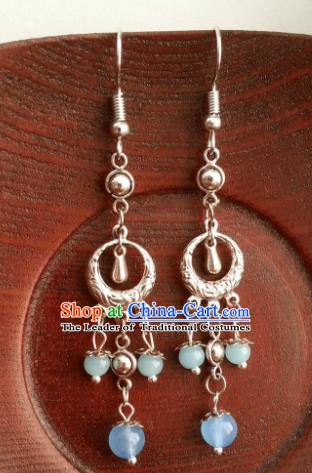 Asian Chinese Traditional Handmade Classical Hanfu Sliver Eardrop Ancient Palace Princess Earrings for Women