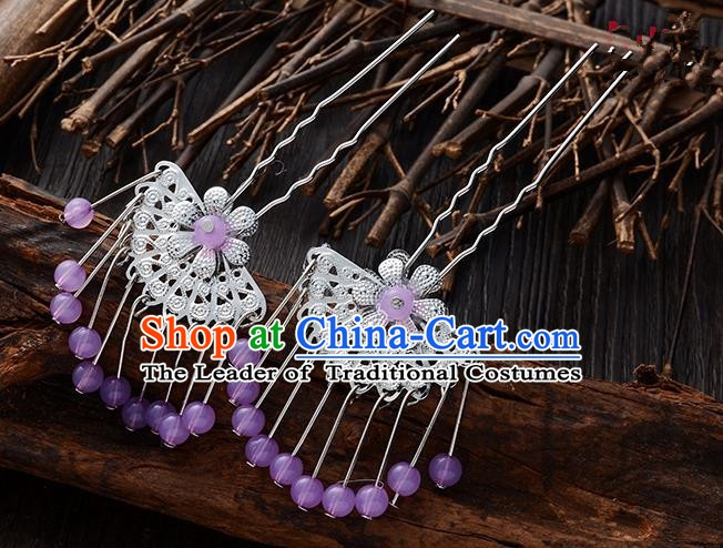 Handmade Asian Chinese Classical Hair Accessories Ancient Lilac Beads Tassel Hairpins Headwear for Women