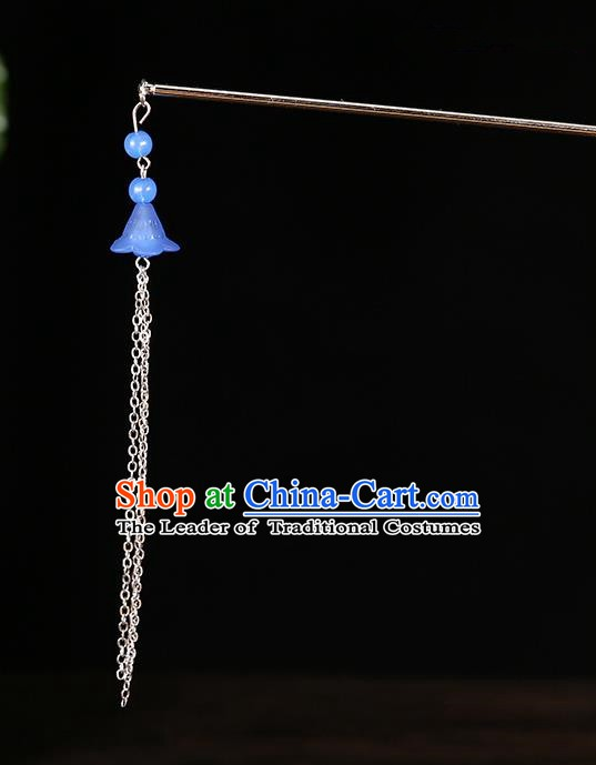Handmade Asian Chinese Classical Hair Accessories Ancient Deep Blue Tassel Step Shake Hairpins for Women