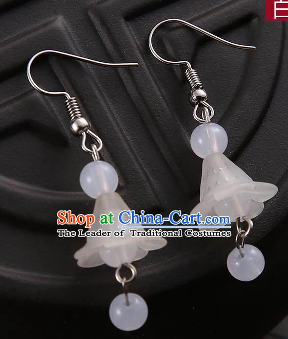 Asian Chinese Traditional Handmade Jewelry Accessories Hanfu Classical White Earrings for Women