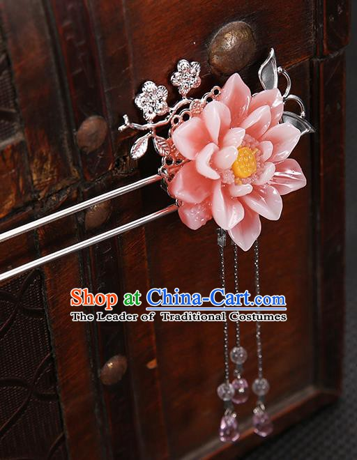 Handmade Asian Chinese Classical Hair Accessories Peach Pink Flower Hair Clip Ancient Hanfu Hairpins for Women