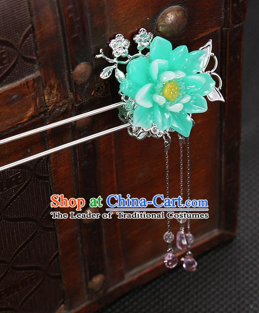 Handmade Asian Chinese Classical Hair Accessories Green Flower Hair Clip Ancient Hanfu Hairpins for Women