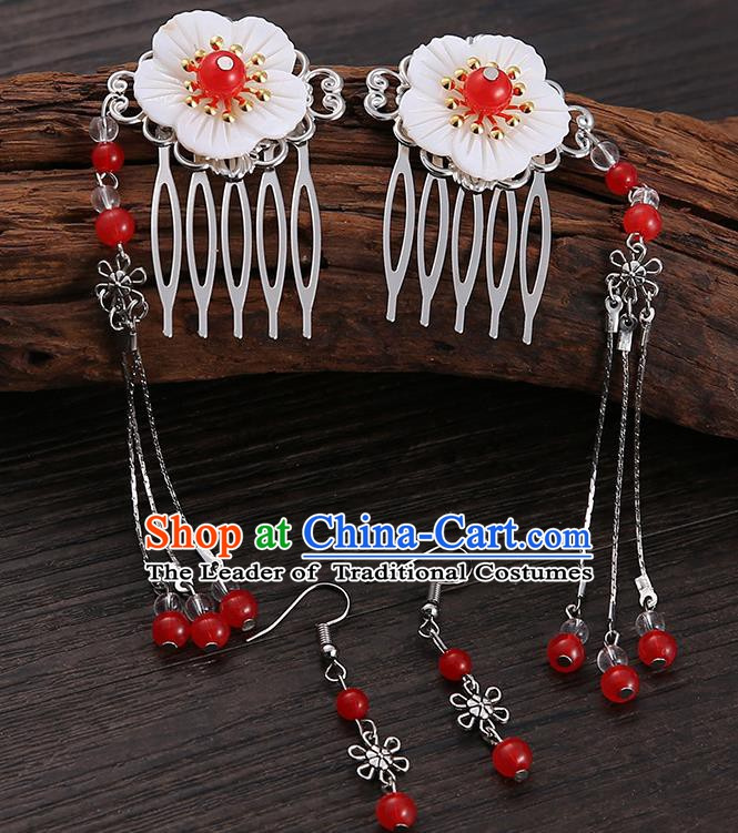 Handmade Asian Chinese Classical Hair Accessories Shell Hair Stick Hairpins and Red Beads Earrings for Women