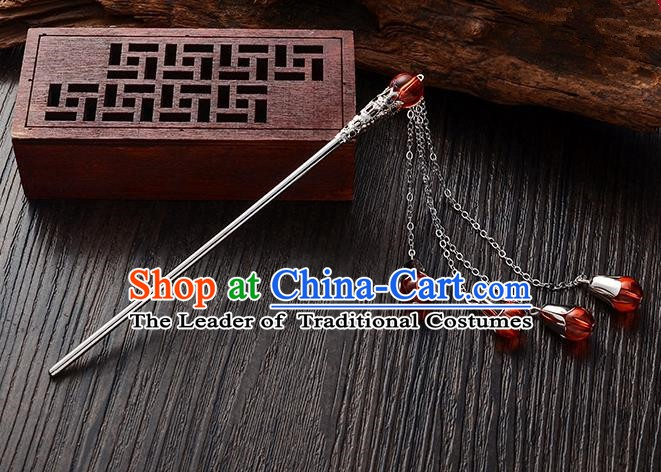 Handmade Asian Chinese Classical Hair Accessories Red Crystal Beads Tassel Hairpins Hanfu Step Shake for Women