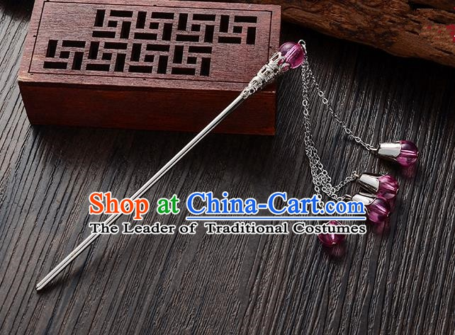 Handmade Asian Chinese Classical Hair Accessories Rosy Crystal Beads Tassel Hairpins Hanfu Step Shake for Women