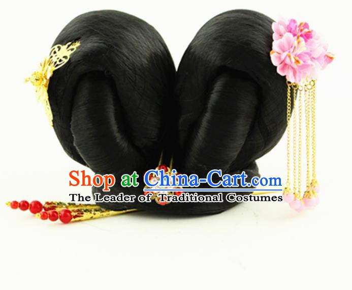Asian Chinese Handmade Palace Lady Classical Wig and Hair Accessories Hairpins Complete Set for Women