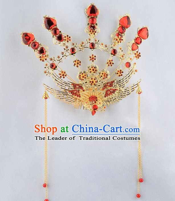 Asian Chinese Handmade Palace Lady Classical Hair Accessories Queen Phoenix Coronet Tassel Hairpins for Women