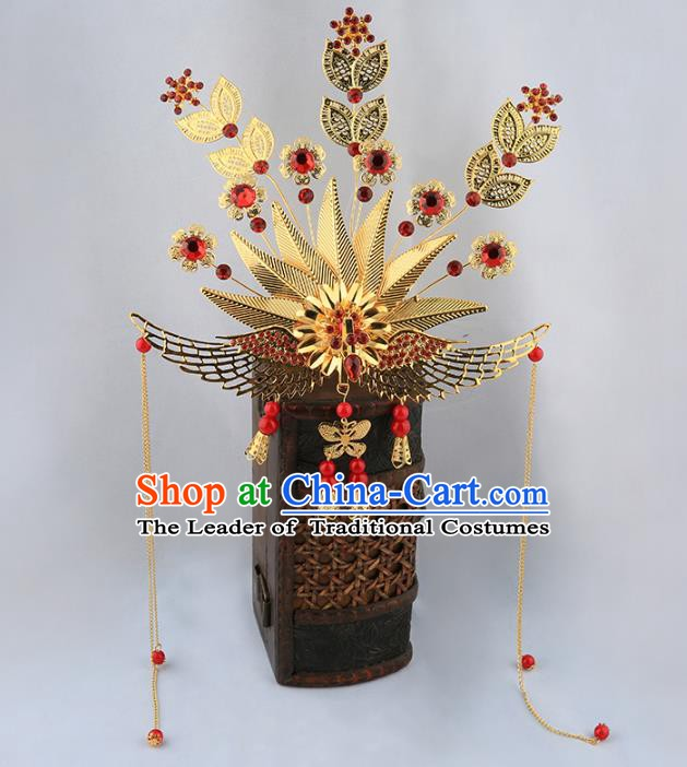 Asian Chinese Handmade Palace Lady Classical Hair Accessories Queen Golden Phoenix Coronet Tassel Hairpins for Women