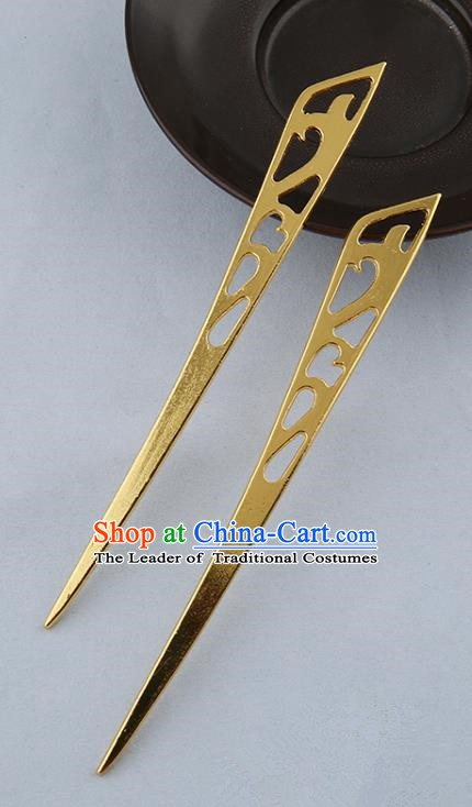Asian Chinese Handmade Palace Lady Classical Hair Accessories Hanfu Golden Hairpins Headwear for Women