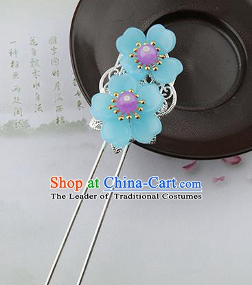 Asian Chinese Handmade Palace Lady Classical Hair Accessories Hanfu Blue Flowers Hairpins Headwear for Women