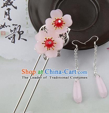 Asian Chinese Handmade Palace Lady Classical Hair Accessories Hanfu Pink Flowers Hairpins Headwear for Women