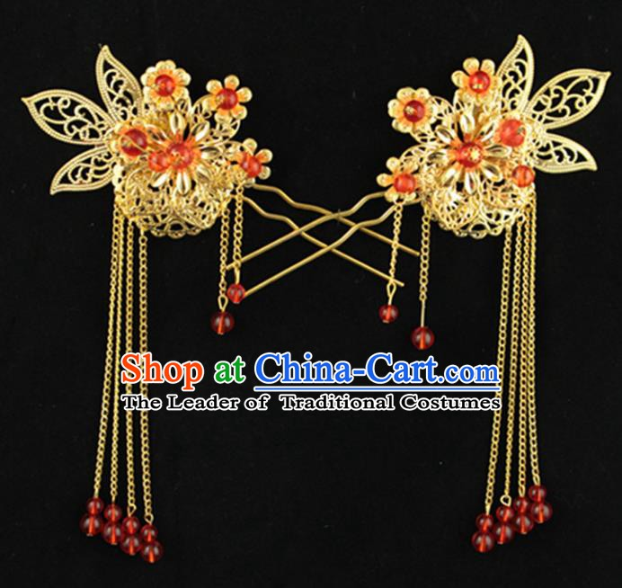Asian Chinese Handmade Palace Lady Classical Hair Accessories Red Beads Tassel Hairpins for Women