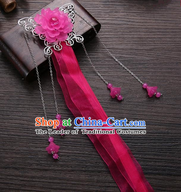 Handmade Asian Chinese Classical Hair Accessories Rosy Ribbon Butterfly Hairpins Hanfu Hair Stick for Women